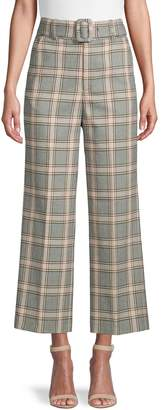 Joie Plaid-Print Belted Pants
