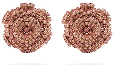 Rebecca De Ravenel Ava Crystal Embellished Rose Earrings - Womens - Pink