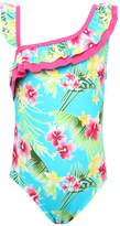 M&Co Tropical print asymmetric frill swimsuit