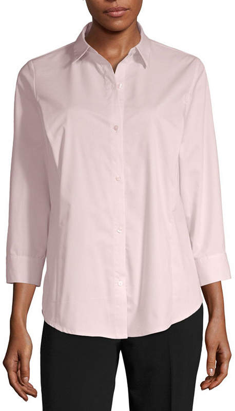 Liz Claiborne 3/4 Sleeve Essential Shirt - Tall