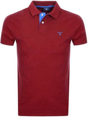 Gant Contrast Collar Rugger Polo T Shirt Red