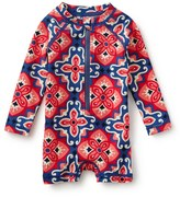 Tea Collection Ceramic Sunburst One-Piece Rashguard Swimsuit (Baby Girls)