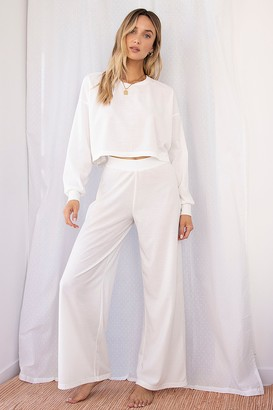 Nasty Gal Womens Let Loose Wide-Leg Lounge Trousers - Cream - 6