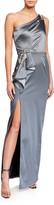 Marchesa One-Shoulder Stretch Satin Gown w/ Asymmetric Side Ruffle