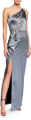 Marchesa Notte One-Shoulder Stretch Satin Gown w/ Asymmetric Side Ruffle