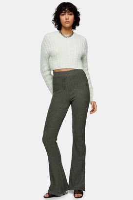 Topshop TALL Sage Brushed Ribbed Flare Pants