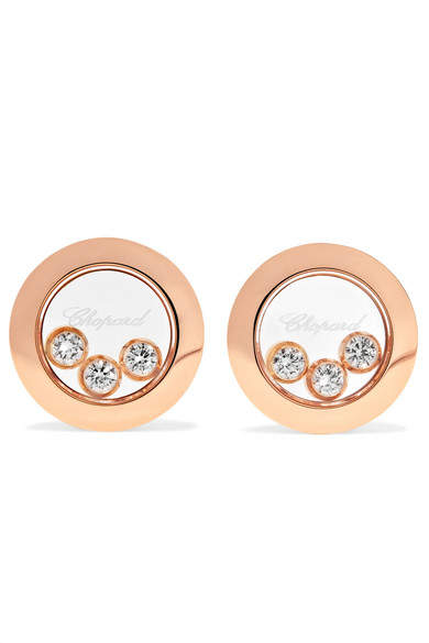 Chopard Happy Diamonds 18-karat Rose Gold Diamond Earrings