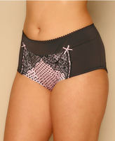 Yours Clothing Black & Pink Polka Dot Brief With Lace Detail
