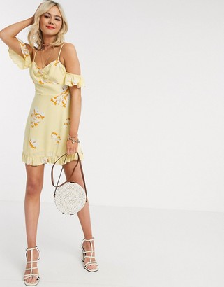 Gilli mini dress with cold shoulder detail in yellow floral