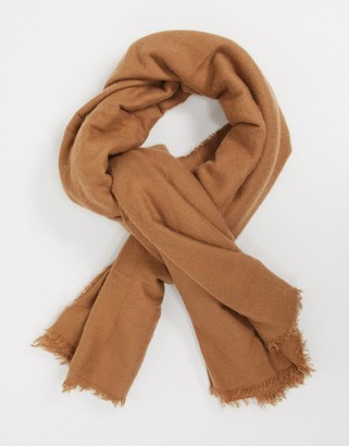 ASOS DESIGN new recycled square lightweight scarf in camel