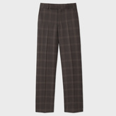 Paul Smith Men's Brown Windowpane-Check Wool Trousers