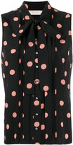 Tory Burch sleeveless polka dot blouse