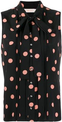 Tory Burch sleeveless polka dot blouse