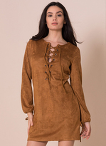 Missy Empire Anastasia Tan Suede Cross Detail Shift Dress