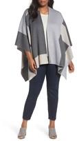 Eileen Fisher Plus Size Women's Colorblock Merino Wool Poncho Cardigan
