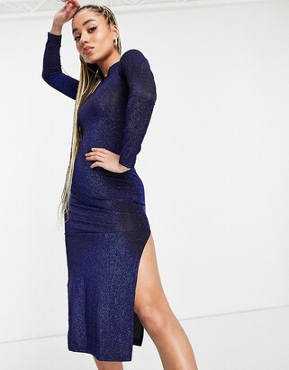I SAW IT FIRST glitter long sleeve midi dress in blue
