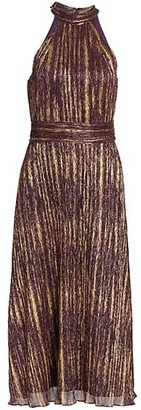 ML Monique Lhuillier Sleeveless Halterneck Lurex Midi Dress