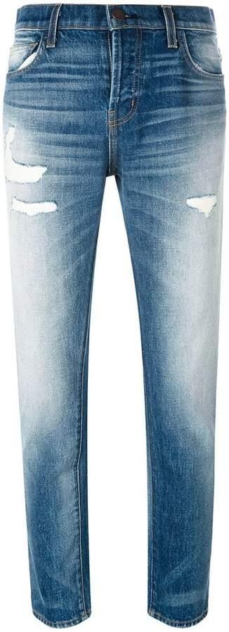 Current/Elliott distressed straight jeans