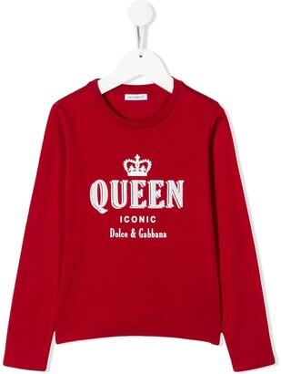 Dolce & Gabbana Kids Queen embroidered jumper