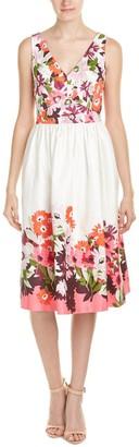 Donna Morgan Women's Sleeveless Cotton Sateen V-Neck Dress with Full Skirt