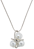 18K White Gold, South Sea Pearl & 0.37 Total Ct. Diamond Pendant Necklace