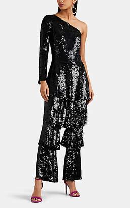 Osman Women's Labelle Tiered Sequined One-Shoulder Jumpsuit - Black