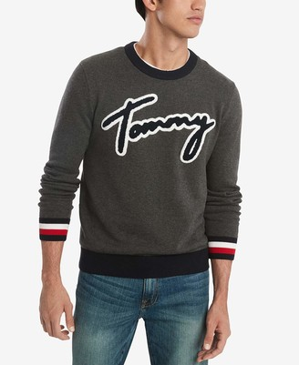 Tommy Hilfiger Men's Cotton Crew Neck Script Sweater