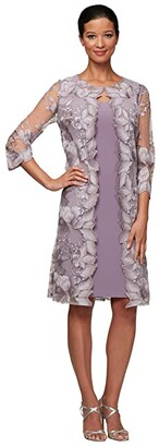 Alex Evenings Short Embroidered Elongated Mock Jacket Dress (Smokey Orchid) Women's Dress