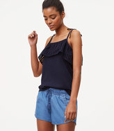 LOFT Chambray Drawstring Shorts in Light Indigo Wash