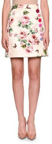 Dolce & Gabbana Brocade Rose-Print A-Line Overlap Skirt w/ Button Trim