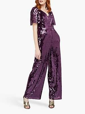 Monsoon Harriette Heart Sequin Jumpsuit, Purple