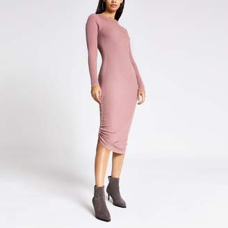 River Island Womens Dark Pink ribbed ruched side dress