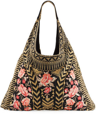 Johnny Was Rianne Embroidered Linen Hobo Bag