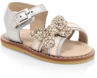 Elephantito Baby Girl's Glitter Butterfly Metallic Leather Sandals