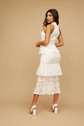 Little Mistress Kenzo White Tiered-Lace Ruffle Midaxi Dress
