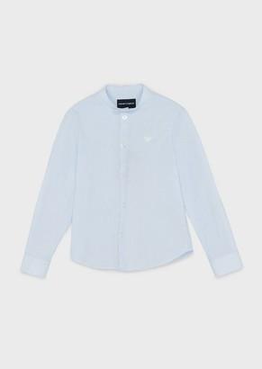 Emporio Armani Shirt With Mandarin Collar, Micro-Striped