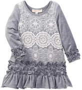 Baby Sara Lace Overlay Ruffle Hem Dress (Toddler & Little Girls)