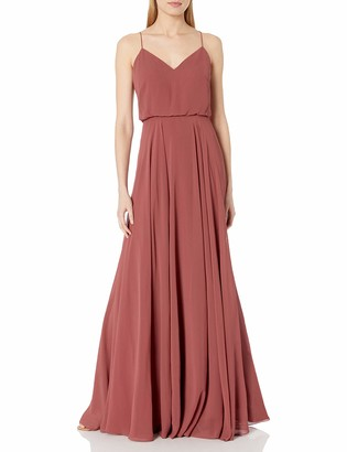 Jenny Yoo Women's Inesse Thin Strap V Neck Long Chiffon Gown