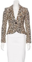 Alice + Olivia Leather-Accented Tweed Blazer