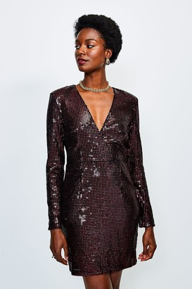 Karen Millen Sequin Wrap Front Long Sleeve Dress