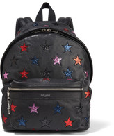Saint Laurent City Glittered Leather And Twill Backpack - Black