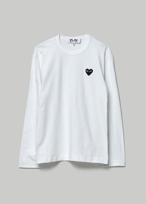 Comme des Garcons Men's Black Heart Long Sleeve T-Shirt in White Size Small 100% Cotton