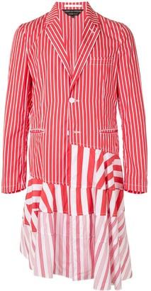 Comme des Garcons Patchwork Stripe Single-Breasted Coat