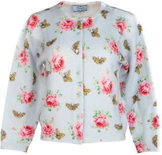 Prada Floral Intarsia Knit Cardigan