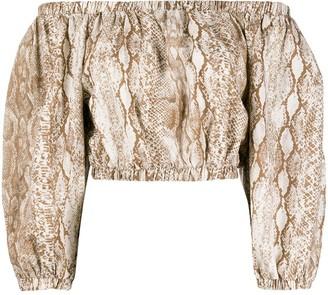 Andamane Snakeprint Off-Shoulder Blouse