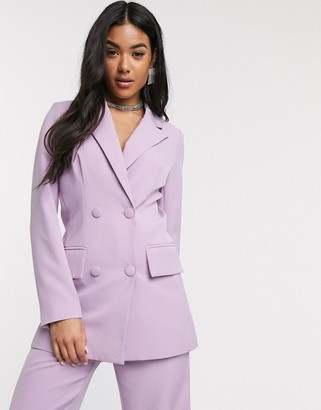 4th + Reckless double breasted suit blazer in lilac