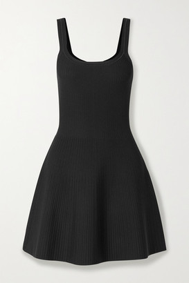 Theory Ribbed Stretch-knit Mini Dress - Black