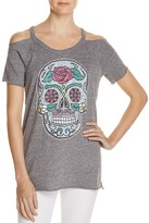 Chaser Sugar Skull Cold Shoulder Tee