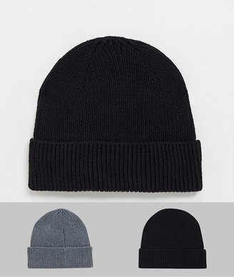 ASOS DESIGN 2 pack fisherman beanie in grey and black in recycled polyester SAVE