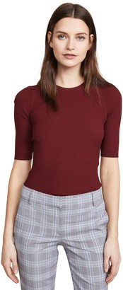 Theory Women's Short Sleeve Tech Rib Crewneck Sweater
